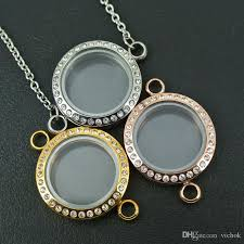 whole 316l stainless steel chain necklace glass photo frame memory locket pendant necklace can put photo or floating charms inside vichok silver