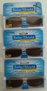 3 Solar Shield Clip On Polarized Sunglasses With 51 Size Oval Shape 2 Brown Frameless Lens