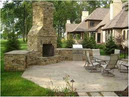 full image for wondrous backyard stone corner fireplace with outdoor kitchen and dinning area 13 diy