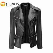whole black faux leather wide lapel slim jackets women pu leather motorcycle biker jacket plus size xl coats winter female outerwear jacket leather
