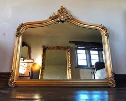 antique gold large over mantle mirror