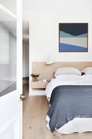 Light Wood And White Bedroom Minimalist Bedroom White Wash Floors Blue And White