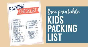 Free Printable Vacation Packing List Template For Kids - Paper Trail ...