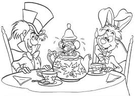 Small Picture White Rabbit and Mad Hatter and Teapot Fill with Mouse Coloring