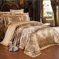 Gold Jacquard Silk comforter/duvet cover king queen 4pcs luxury ... & Gold Jacquard Silk comforter/duvet cover king queen 4pcs luxury Satin bed  sheet linen bedclothes Adamdwight.com
