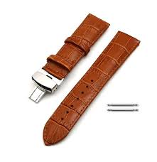 seiko compatible light brown croco leather replacement watch band strap steel erfly buckle 10314 loading zoom