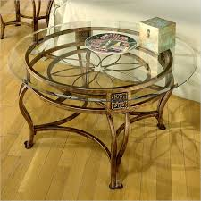 round glass top coffee tables hilale scottsdale round glass top coffee table in brown rust finish