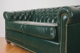 leather chesterfield loveseat green 1
