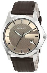 gucci men s ya126403 g timeless medium brown dial brown leather gucci men s ya126403 g timeless medium brown dial brown leather strap watch gucci