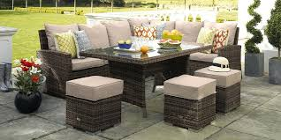 rattan outdoor corner sofa dining set garden furniture black cream cushions new couch cover cushion