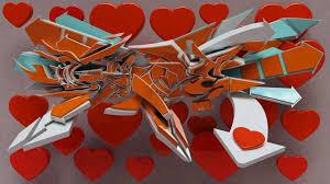 3d graffiti love for valentinne