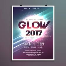 2017 New Year Party Flyer Brochure Template With Glowing Backgro ...