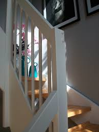refreshed my staircase wooden handrail bannisters, Sanded + repainted by  myself using Valspar waterbased paint