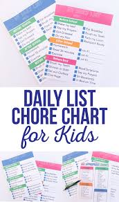 Daily List Chore Chart For Kids The Crafting Chicks