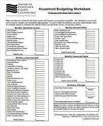 Free Family Budgeting Worksheets Sample Household Budget Worksheet 8 Examples In Word Pdf