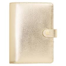 leather personal planner medium gold gold