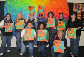 spirited art is an optimistic creative painting class for folks who want to learn the basics of acrylic painting in the company of great friends and good