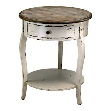 furniture round shabby white wooden bedside table with round shelf and three legs also dark