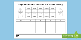 Check out our different sets of worksheets that help kids practice and learn phonics skills like beginning sounds, rhyming and more. Linguistic Phonics Phase 4c U E Sound Sorting Worksheet