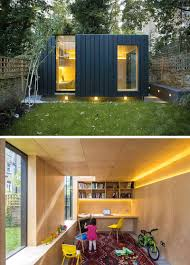 backyard shed office. this charred cedar clad studio was added to the backyard of london home provide an office, a yoga studio, and children\u0027s play area. shed office