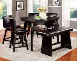amusing appealing gray rug and beautiful black triangle dining table and  black leather dining chairs plus