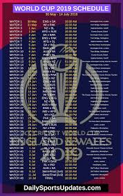 World Cup Chart Pdf Icc Cricket World Cup 2019 Schedule Pdf Download Time