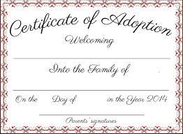 Pet Adoption Certificate Template Free Printable Adoption Certificate Mult Igry Com