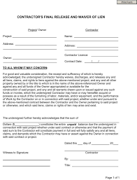 Free Subcontractor Lien Waiver Form Free Contractors Final Release And Waiver Of Lien Wikiform Wikiform