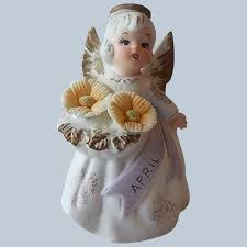 Lefton April Birthday Angel Figurine : Colemans Collectibles | Ruby Lane
