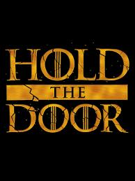 hold the door men s black t shirt