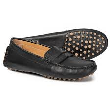 avellini made in italy penny moccasin driver shoes leather for women in black