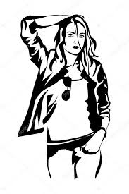 Vector Illustration Fashion Girl Posing In Leather Jackethipster