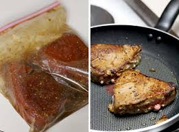 these ahi tuna steaks take only 6 minutes to make crispy and seared on the