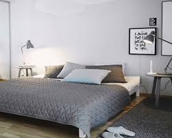 scandinavian bedroom furniture. Bedroom:Outstanding Scandinavian Bedroom Furniture With Grey Bed Cover And White Paint Wall Also Laminated V