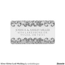 silver address label silver glitter look wedding label this custom modern wedding address