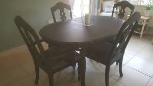 french boutique shabby chic dark grey dining table and 4 crushed velvet chairs