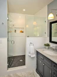 half wall shower glass how does the door evenly meet and tile shelf half wall shower pony glass