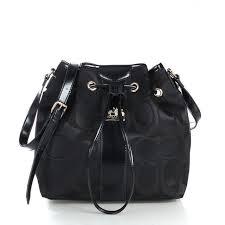Coach Drawstring Medium Black Shoulder Bags FCE