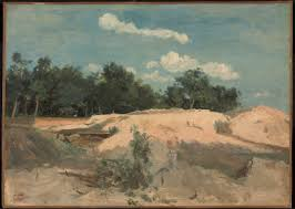camille corot at fontainbleau oaks and sand in the sun c 1840 oil on paper later mounted 35 5 x 49 5 cm ngc