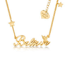 disney couture kingdom official 14kt gold plated believe tinkerbell necklace