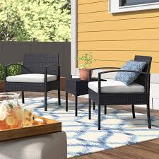 com 3 piece conversation seating group with cushions contemporary patio furniture set 2 chairs and side table tan garden outdoor