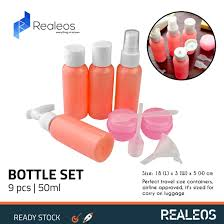 realeos 50mlportable travel bottles 9 pcs set with zipper waterproof pvc pouch cosmetic toiletries conner set