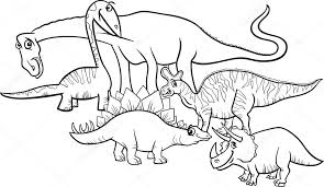 Cartoon Dinosaurussen Kleurplaten Pagina Stockvector Izakowski