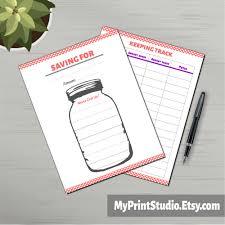 Savings Planner Jar Tracker Saving Goal Finance Organizer Savings Planner Artwork Instant Download