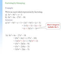 example write an equivalent expression by factoring