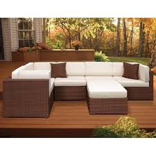 atlantic contemporary lifestyle bellagio brown 6 piece patio sectional seating set with off white