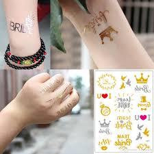 свадебные татуировки поддельные металл золотая флэш наклейка невесты команда