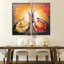 hand painted still life abstract oil painting flower petals wine glass modern home wall decoration