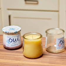 glass yogurt jars make great candle containers