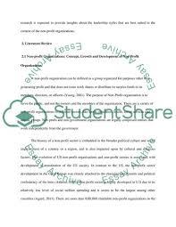 Leadership In Non Profit Organizations Essay Example